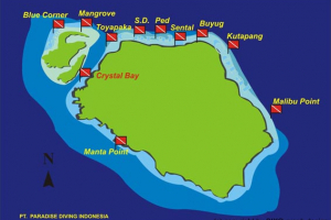 Dive site map: Nusa Penida