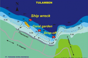 Dive site map: Tulamben